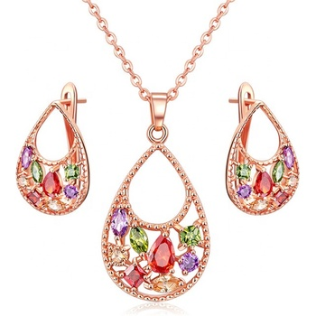 Shenzhen China High Quality Jewelry Set Necklace With Earring Fashion Zirconia Jewelry Bridal Set For Women
