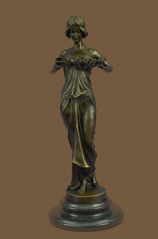 "Handmade European Bronze Sculpture 14""X5""... 7 LBS ...Art Deco ""Nymph Of The Woods"" Pittaluga Signed Art Nouveau Women (1XB-EP-893) statue statues figurine figurines nude décor sculptures c"