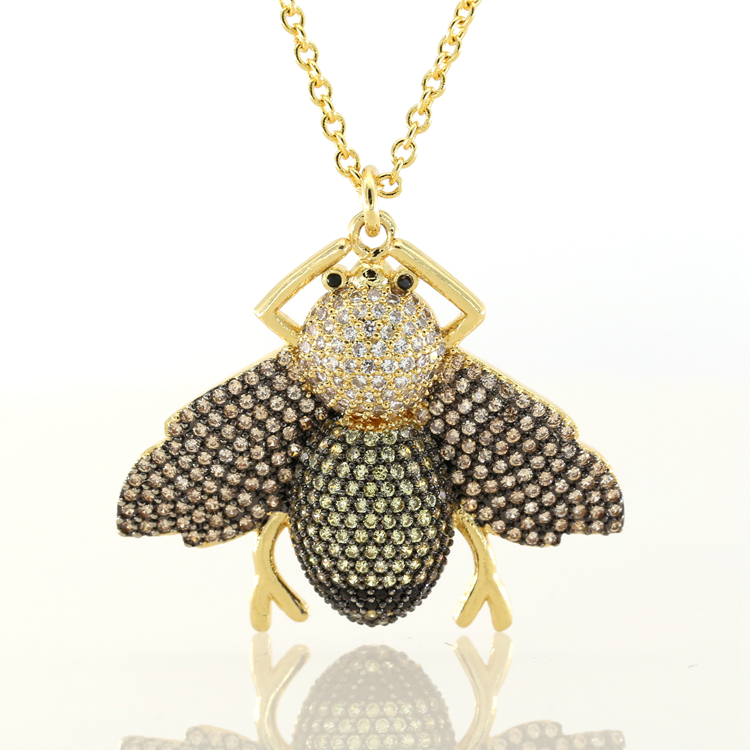 Jewelry adjustable chain fashion animal women 18k gold necklace micro pave bee insect charm pendant фото