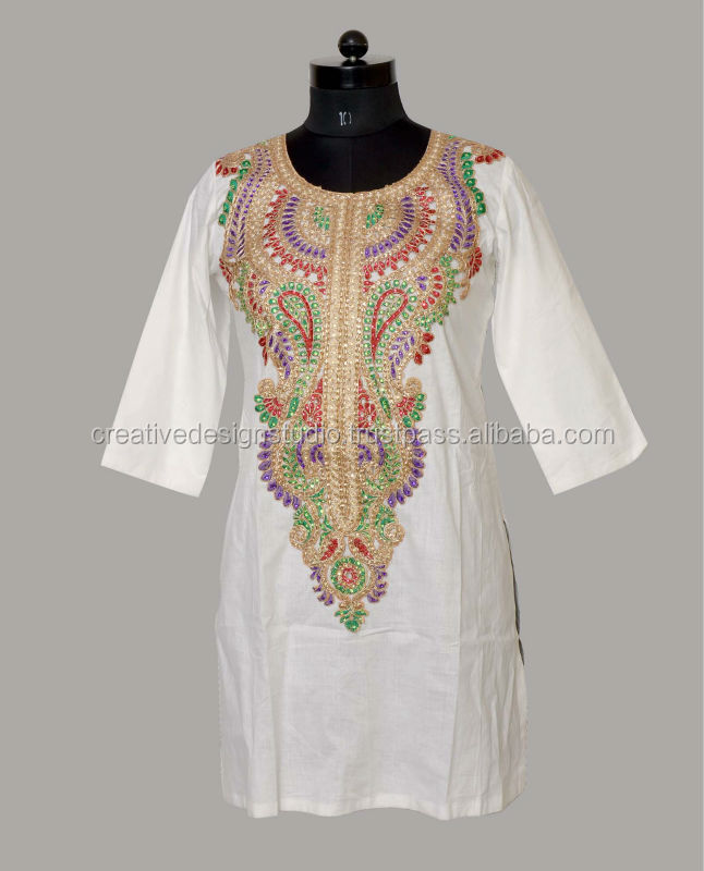 Cotton Coding Embroidery Tops Buy Kurta Kurti Ethnic Kurta