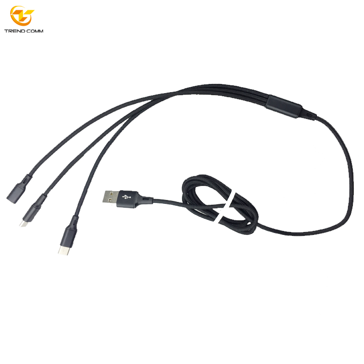 Aluminum Alloy Nylon Data Line USB C Charging 3 in 1 Cable