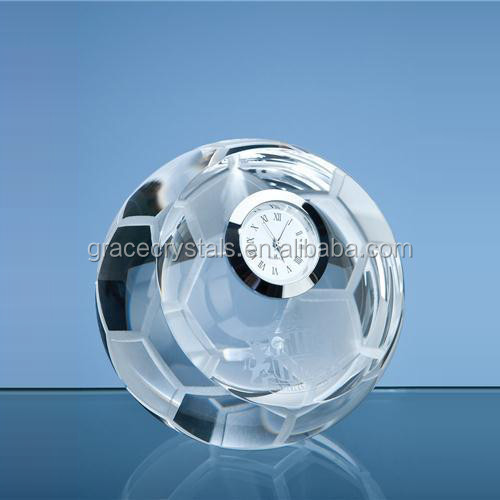 Mini desk top clock clear crystal football shape clock