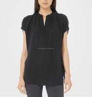 CHEFON Women tunic shape dolman short sleeve silk blouse models