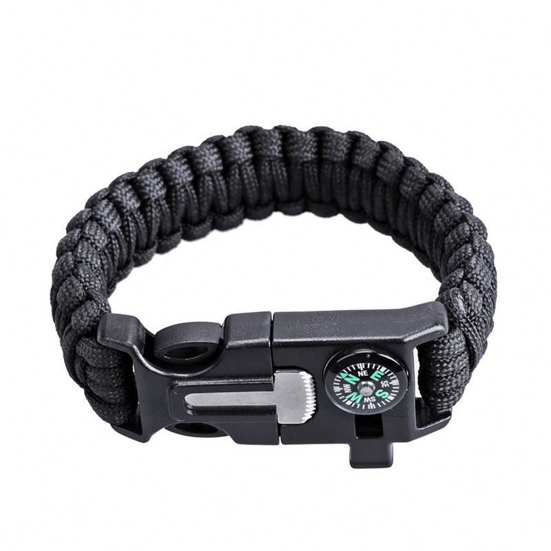 Homemade Paracord Wholesale 550 Watch Survival Band Bracelet With Compass Flint Whistle Handmade