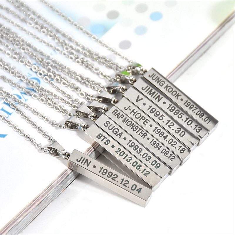 2018 new Korean bullet-proof youth group BTS with necklace necklace Japan and South Korea Harajuku leather BTS necklace