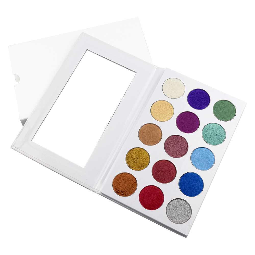 New arrival 15 color eye shadow palette 26mm white cardboard palette with mirror make your own eyeshadow color brand фото