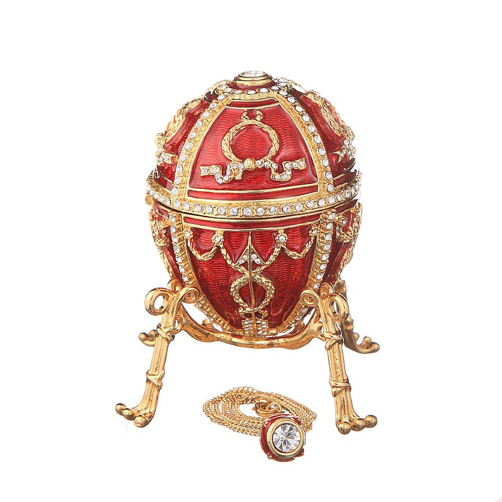 Russian Faberge Style Egg with Arrows / Trinket Jewel Box with Flower & Pendant red 3.2''