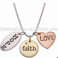 Sterling Silver 'Hope, Faith, Love' Charm Pendant Necklace ,Wholesale Ebay Jewelry