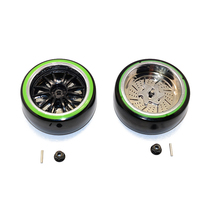 GPM DELRIN DRIFT TIRES OF 26MM WIDTH MOUNT WITH 6 SPOKES PLASTIC WHEELS-1PR SET RC CAR UPGRADE ACCESSORIES