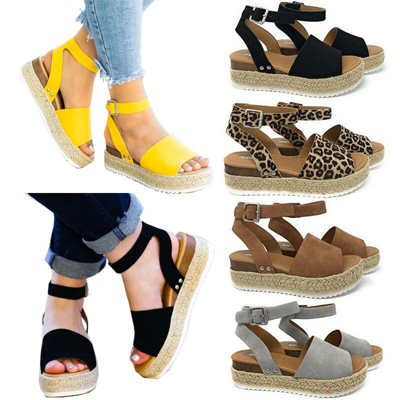 महिला मंच सैंडल Espadrille टखने का पट्टा आराम गर्मियों झलक पैर की अंगुली जूते आकार