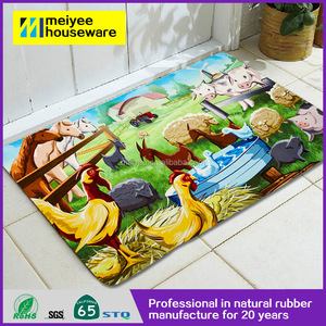2016 New arrival Funny Paintings Washable floor mat printed, Non-Slip natural rubber tree rubber rubber mat