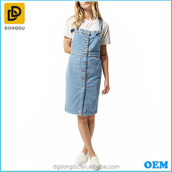 Women Bonnie Blue Cotton Denim Jean Button-up Pinafore Overall Dress ... af206ee59