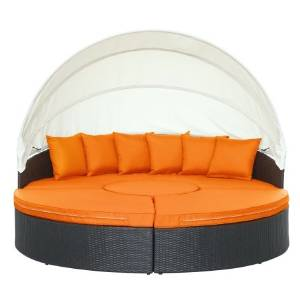 East End Imports EEI-983-EXP-ORA-SET Quest Canopy Outdoor Patio Daybed, Espresso Orange
