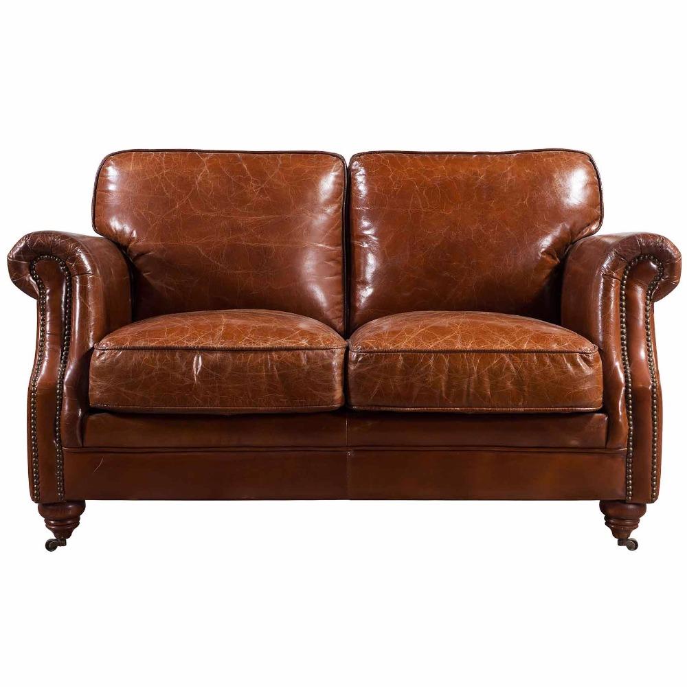 European Style Retro Sofa Vintage Style Leather Sofa With Metal Legs