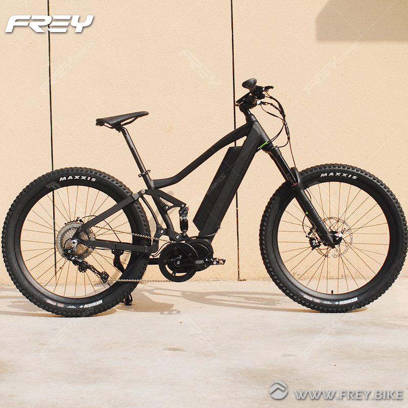 Climbing Full Suspension E MTB With Prologo Kappa Rs
