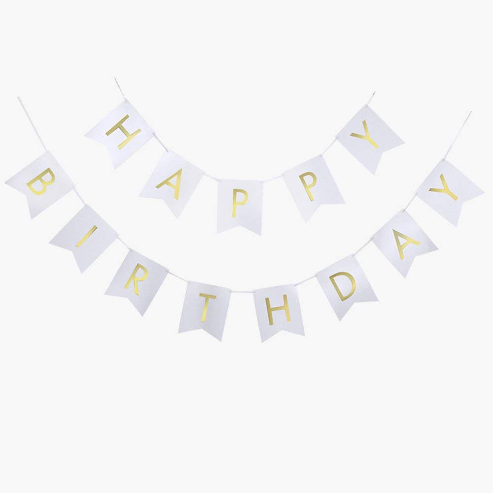 BTSD-home White Happy Birthday Bunting Banner with Shimmering Gold Letters - Birthday Decorations - 21st - 30th - 40th - 50th Birthday Party Supplies
