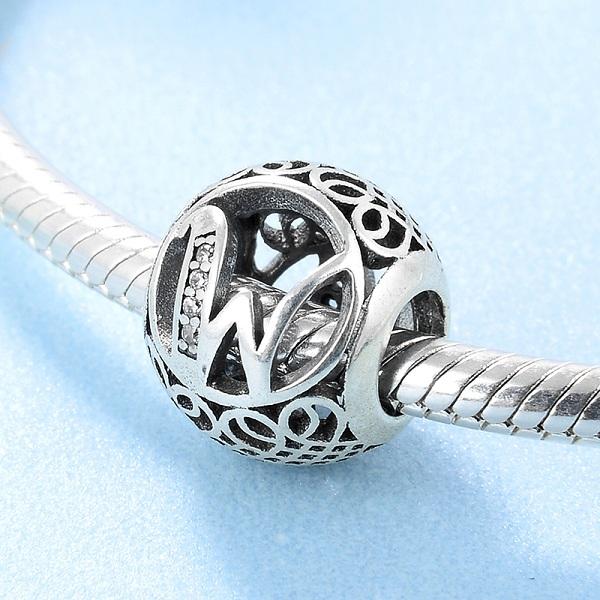 Новинка, серебро 925 пробы, модные DIY прозрачные циркониевые бусины с буквами, подходят для оригинальных браслетов Pandora(Китай)
