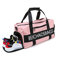 fashion customized pink black gym duffle bag Nylon Outdoor sport Travel Bag with shoe compartment