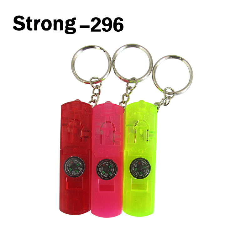 plastic portable mini torch keychain lights with compass decoration
