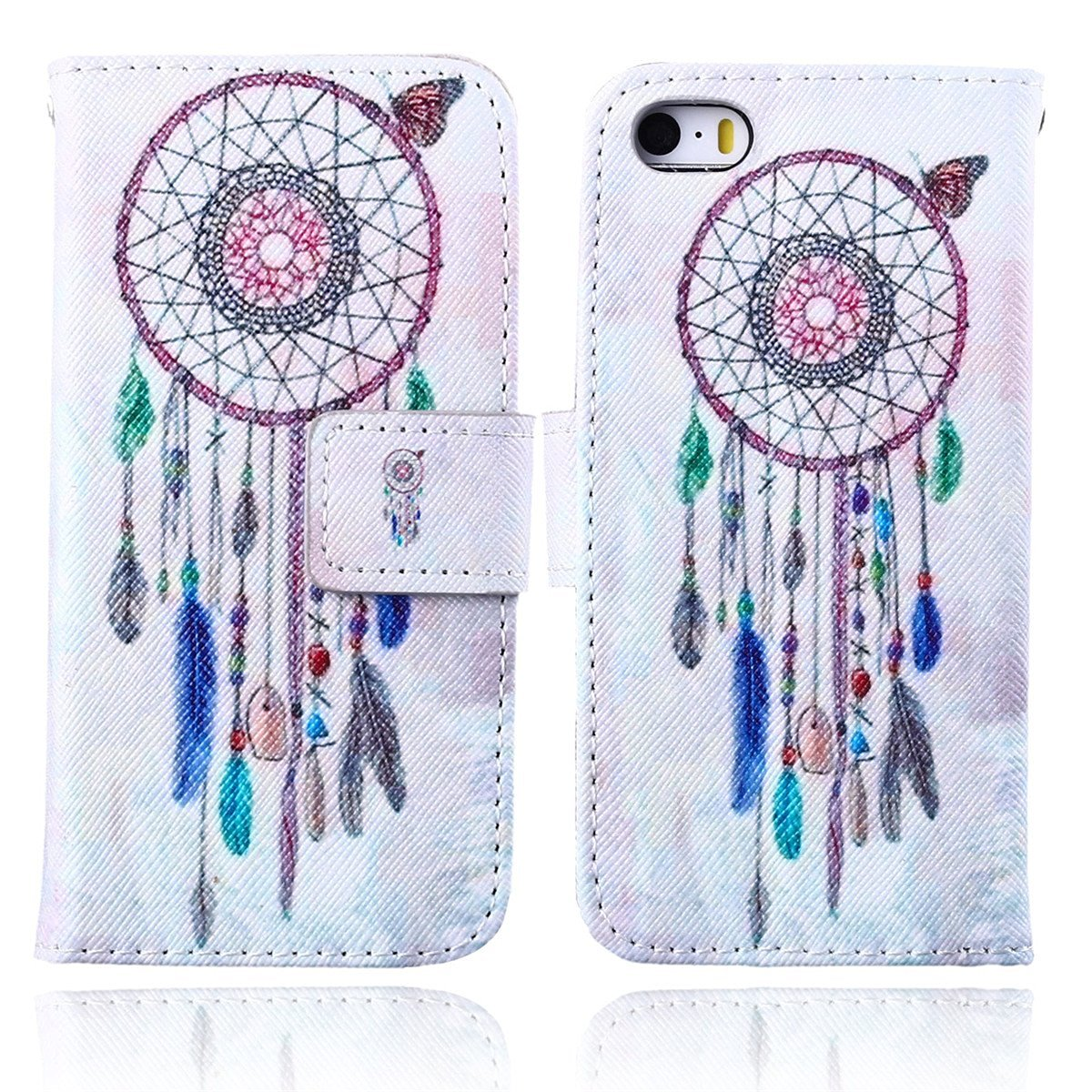 iPhone 5C Case,5C Case,Gift_Source Brand New [Stand Feature] Case [Slim Fit] Folio Leather Stand [Wallet] Shell Cover with Card Holder Compatible with Apple iPhone 5C [Colour DreamCatcher] ,Sent Screen Protector + Stylus Pen