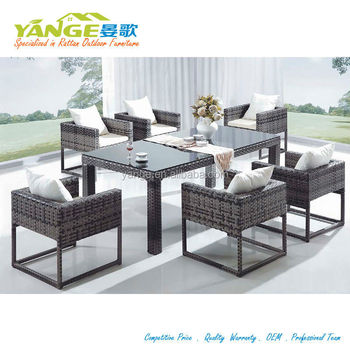 6 Seater Restaurant Plastic Furniture Outdoor Dining Table And Chair Set