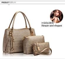 New 2015 women handbags genuine leather handbag women messenger bags brand designs bag bags Handbag+Messenger Bag+Purse 3 Sets
