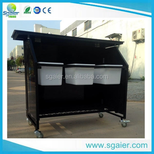 Easy Assembled Portable Folding Bar With Brake Wheels,lighted Bar Counter,  Bar Counter For