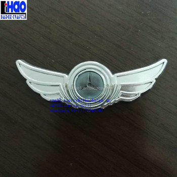 Luxury Custom Made 3d Abs Chrome Wing Car Emblem Wing Pin Badge