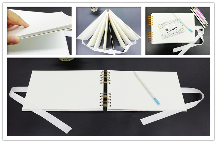 Gold Spiral Bound 80 Black Pages PU Leather Wedding Photo Albums With Window For Lovers
