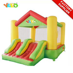 YARD Residential Inflatable Bounce House Trampoline Double Slides Obstacle House Castle