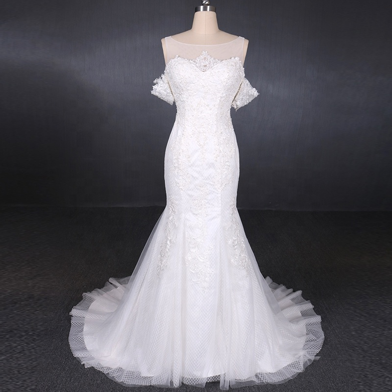 Real Pictures Made In China Suzhou Mermaid Skirt Ruffles Tulle Wedding Dress Sale фото