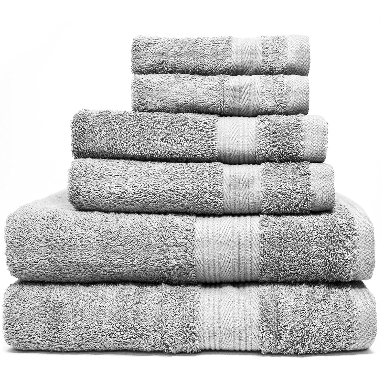 Zeppoli 6-Piece Towel Set - 100% Cotton Grey Towels - 2 Bath Towels, 2 Hand Towels, 2 Washcloth Towels - Ultra Soft & Absorbent Bathroom Towels - Great Shower Towels, Hotel Towels & Gym Towels