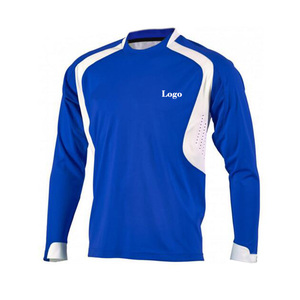China made wholesale latest club long sleeves blue soccer jersey design