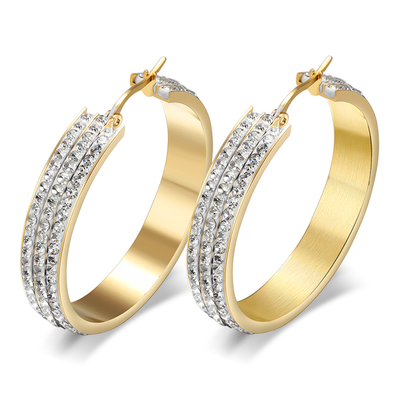 Fashion Crystal Big Earrings For Women 18K Gold Plated ...