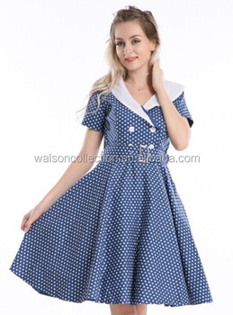 c6e6212b6f20 Kustenluder EMELDA 50s POLKA DOTS Diner KLEID   Dress Rockabilly - Navy