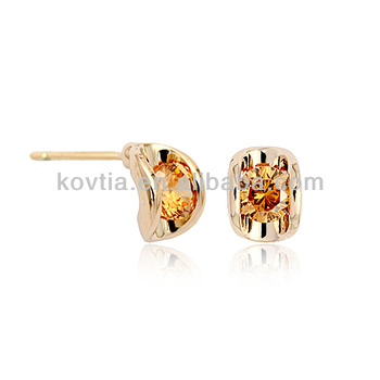 18k Yellow Gold Topaz Earrings Designs Beautiful Small For S