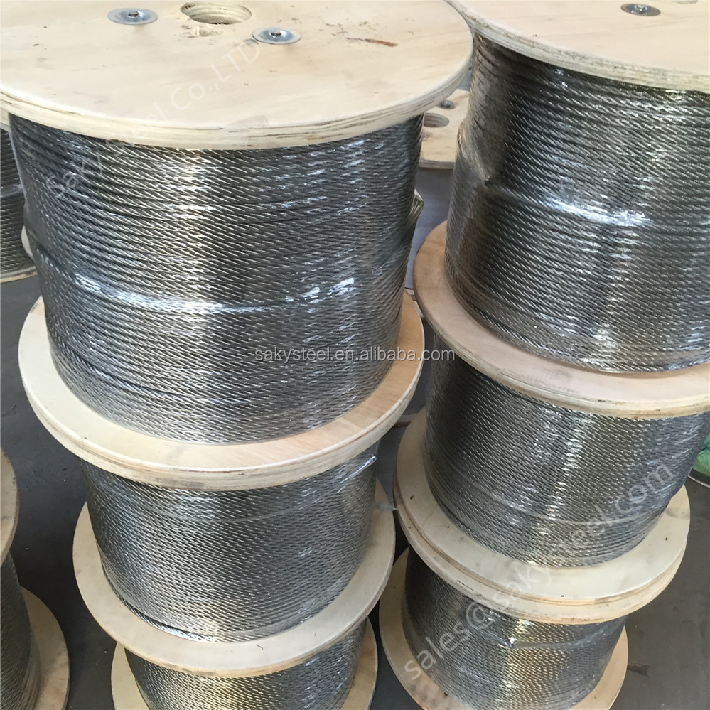 SS316 stainless steel wire rope 7 x 19