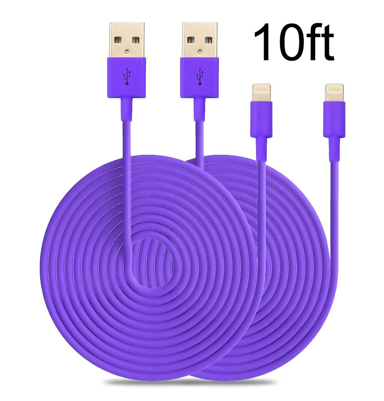 2PCS 6FT USB SYNC DATA POWER CHARGER CABLES IPAD IPHONE IPOD CLASSIC NANO PURPLE