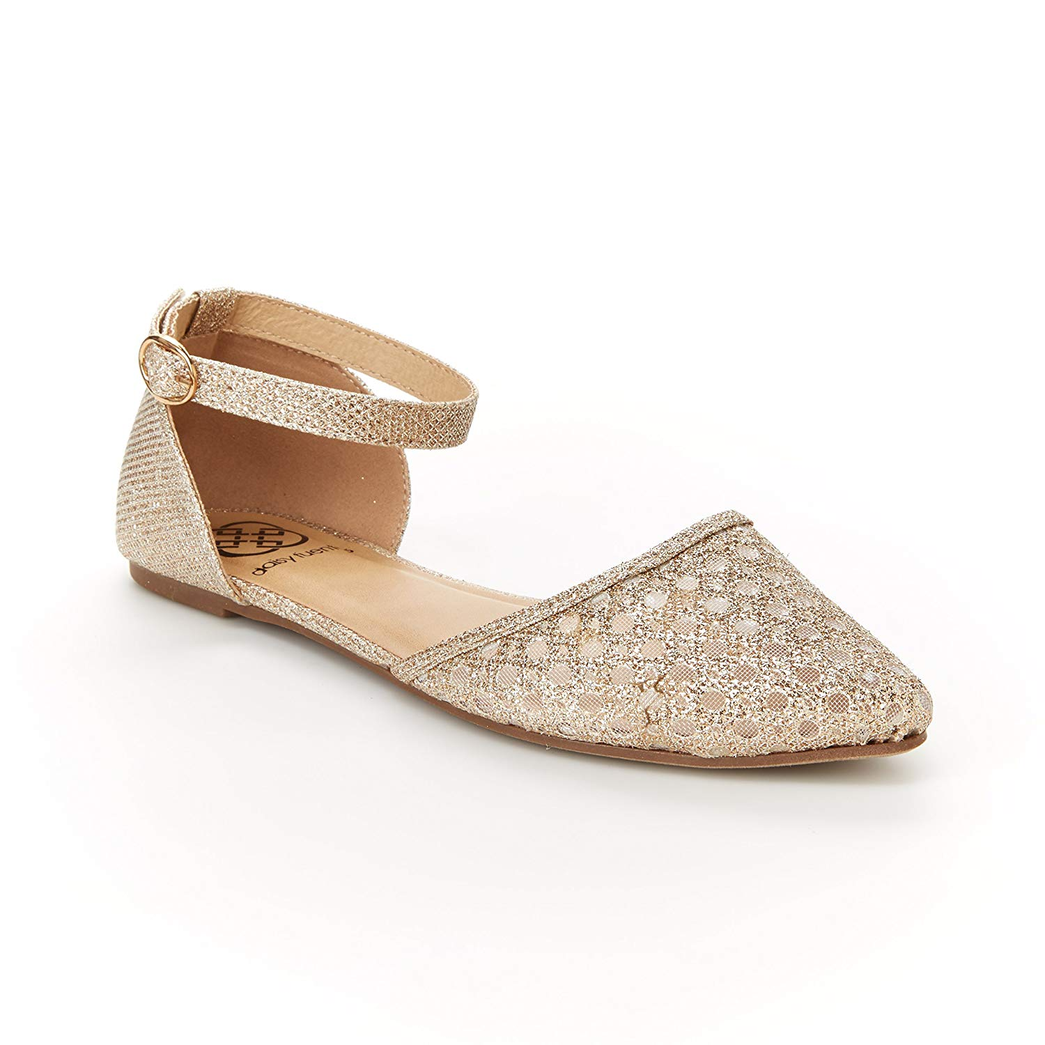3f50657d1e0 Get Quotations · Daisy Fuentes Vegan Layla Flat – Metallic Mesh Upper with  Ankle Strap