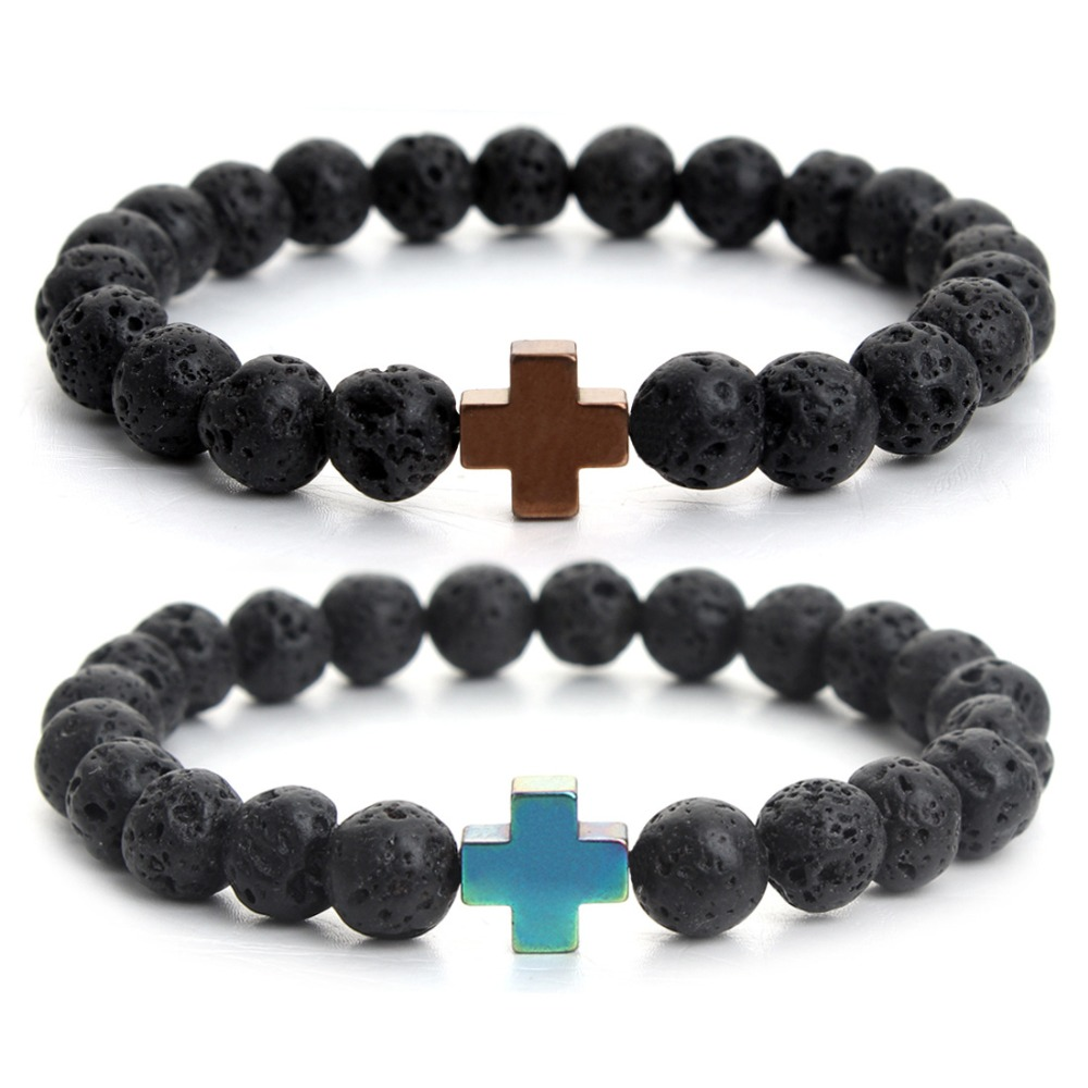 Fashion Jewelry Wholesale 8mm Volcanic Beads Cross Charm Bracelet for Men