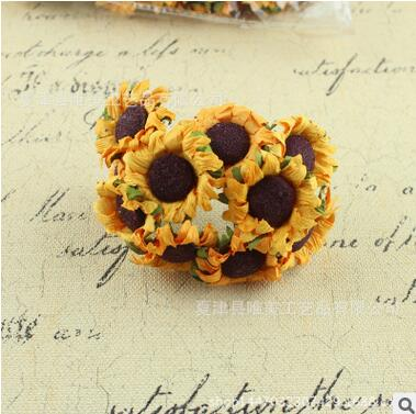 100pcs/bag 3-3.5cm Artificial paper sunflower Bouquet Wedding or anyother party decoration Scrapbooking DIY