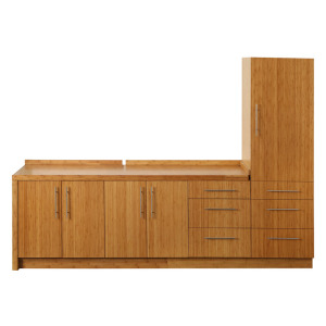 Zhejiang factory direct wholesale solid bamboo kitchen cabinet with DTC hardware