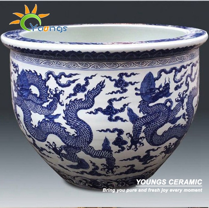 Luxury Big Size Chinese Dragon Ceramic Flower Pot Painting