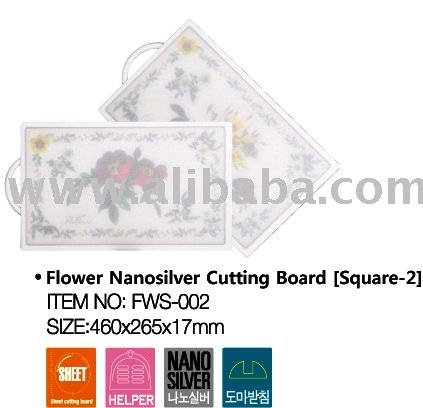 Flower Nano Silver Cutting / Chopping Board Square 2
