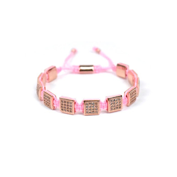 Pink rope braided bracelets square brass bracelet with cz stone