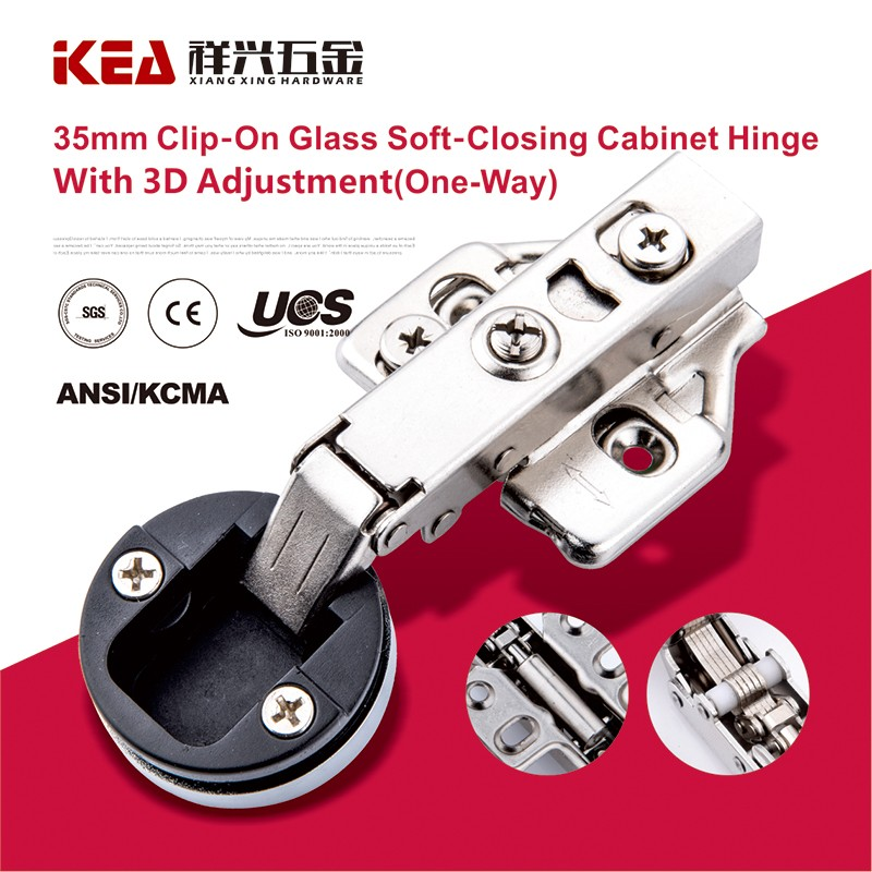 [K20] 3D Adjusted Soft-Closing Cabinet Conceal Hinge Hydraulic Clip-on Glass Door Hinge