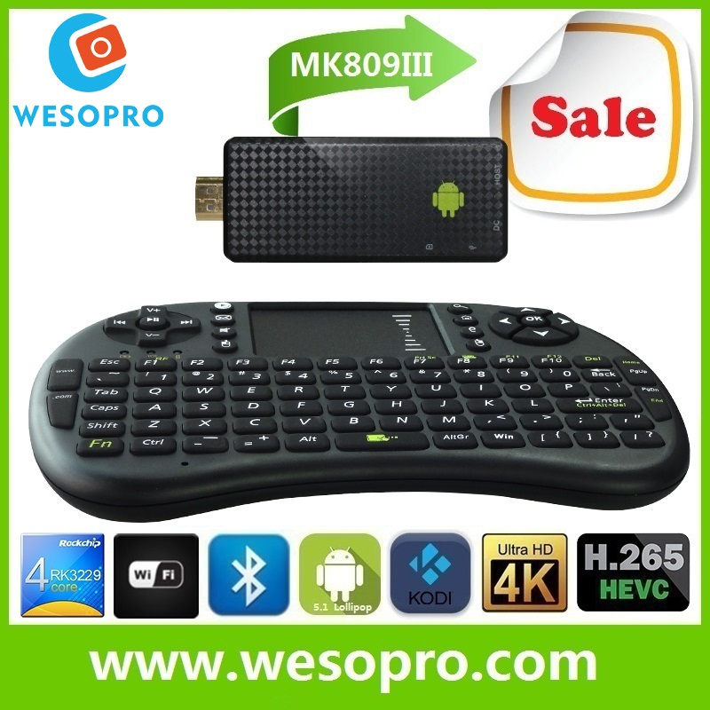 MK809III Android <strong>tv</strong> stick mini PC <strong>tv</strong> <strong>dongle</strong> quad core CPU with 2GB RAM 8GB ROM wireless remote control