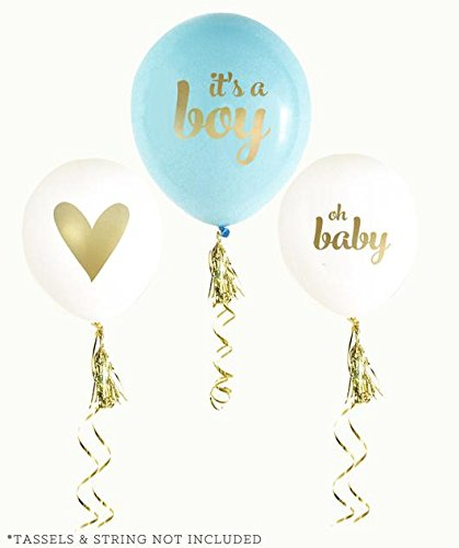Balloon Crafts Gold Boy Baby Shower Balloons (set of 3) –white and blue Oh Baby, It's a Boy- Baby Announcement, Gender Reveal Party, Birthday Decorations