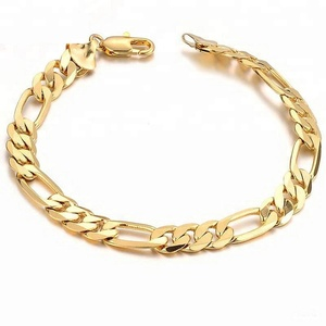 Men Gold Chain Bracelet Filled Gold Plated 18K Gold Bracelet Free Shipping
