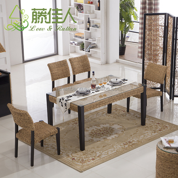 Asian Vietnam Luxury Classic Home Hotel Water Hyacinth Natural Rattan Bali  Dining Furniture Table Chairs Set